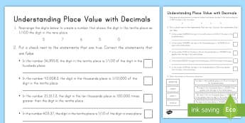 Understanding Place Value with Decimals Activity Sheet - decimal, NBT, 5th grade, comparisons, compare, fractions, worksheet, problem solving