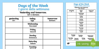 Days of the Week Yesterday and Tomorrow Activity Sheet English/Italian - days of the week, yesterday, tomorrow, worksheets, days of the week worksheet, work sheet, week days