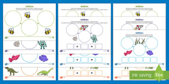 UAE EY Themed Addition Differentiated Activity Sheets - UAE EYFS Maths General, number, addition, calculation, number pattern, number process, plus, add, wo