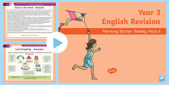 Year 3 English Revision Morning Starter Weekly PowerPoint Pack 6 - review, literacy, reading, writing, spag, gps