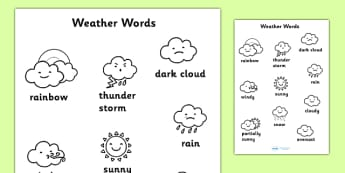 Weather Words Colouring Sheet - weather, colouring, keywords