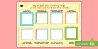 School Year Memories Write-Up English/Italian - School Year Memory Write Up - writing template, school memories, tempelte, writting, templet, EAL