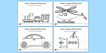 Aistear Transport Dot to Dot Activity Sheets Differentiated - roi, republic of ireland, gaeilge, aistear, transport, worksheet