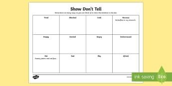 Show Don't Tell Activity Sheet - CfE Writing,Show don't tell,emotions,planning writing, descriptive writing, worksheet