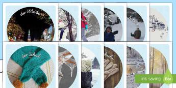 Winterfotos zum Ausschneiden - Schneiden, ausschneiden, winter, winterzeit, schnee, schneeball, snowboard, rollenspiel,German