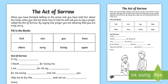 ROI/NI First Confession Act of Sorrow Write Up Activity Sheet - ROI/NI - First Confession - Act of Sorrow Resources,Irish, religion, sorrow, sorry, forgiveness