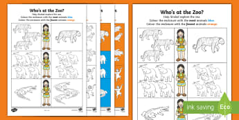 Who's at the Zoo? Comparing and Ordering Activity Sheet - exploring my world, aistear, worksheet, story, zoo, monkey, elephant, crocodile, tiger, penguin, com