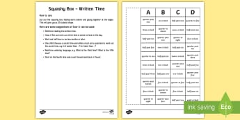 Written Time Squashy Box Craft - Mental Maths Warm Up + Revision - Northern Ireland, analogue clock, written time, the time, o'clock
