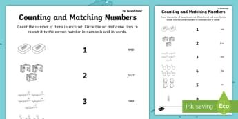 Up, Up and Away! Counting and Matching Numbers Activity Sheet - ROI, Matching, Counting, Numbers, Exploring our world, worksheet, aistear, Story, count to 10, maths