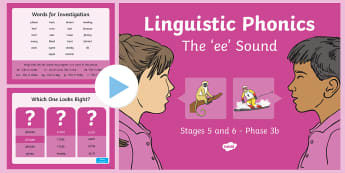 Northern Ireland Linguistic Phonics Stage 5 and 6 Phase 3b, 'ee' Sound PowerPoint