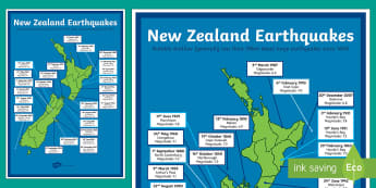 New Zealand Large Earthquakes Map - New Zealand Natural Disasters, earthquake, tsunami, volcano, monsoon, hurricane, flood, tornado
