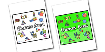 Games Area Sign - sign, display sign, area display sign, area sign, area, games, games area, games sign, games poster, games display poster, classroom areas, school areas, classroom area signs, topic signs, topic area signs