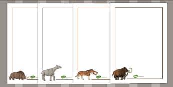 Prehistoric Beasts Page Borders - writing aid, history, write