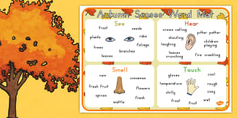 Autumn Senses Word Mat - seasons, weather, keywords, key words