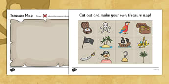 Treasure Map Design Activity - Worksheets, Pirate, Pirates, Topic, cutting, fine motor skills, activity,  pirate, pirates, treasure, ship, jolly roger, ship, island, ocean