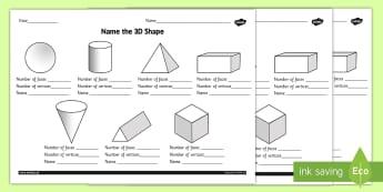 Name the 3D Shape Year 2 Worksheet - worksheet, 3d, shape, year 2