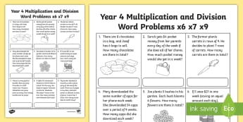 Year 4 Multiplication and Division Word Problems x6 x7 x9 Activity Sheet - maths, multiplication, division, problem solving, problems, solving, australia, australian curriculu