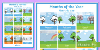 Months of the Year Poster English/Portuguese - January, February, year, translation