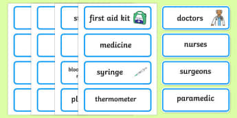 Toy Hospital Word Cards - toy hospital, toys, dolly, cars, balls, dolls, teddy, toy animals, word card, flashcards, cards