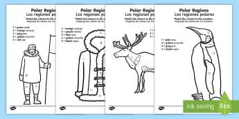 Polar Regions Colour by Number English/Spanish - Counting Activity Sheet, count, worksheet, EAL,translation