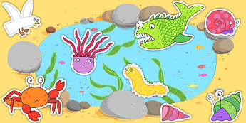 Story Cut Outs to Support Teaching on Sharing a Shell - stories, story books, cutouts