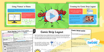 PlanIt - Computing Year 4 - Photo Stories Lesson 1: Comic Strip Layout Lesson Pack - computing, photo, ks2, ict, 2014, planning