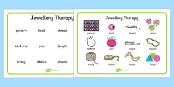 Jewellery Therapy Word Mat - lego therapy, speaking and listening, peer interaction, autism, giving instructions, social skills