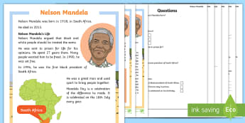 KS1 Nelson Mandela Differentiated Reading Comprehension Activity - Black History, Mandela Day, President, South Africa, Justice