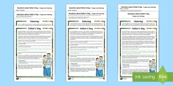 Father's Day Differentiated Reading Comprehension Activity English/German - Father's Day, comprehension, KS2, reading, differentiated, June, dad, daddy, history, EAL, German,