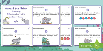 Year 1 Ronald the Rhino Reasoning Differentiated Maths Challenge Cards - Twinkl originals, fiction, Reason, Solve, Discuss, Explain, Find, javan rhino, ks1, y1