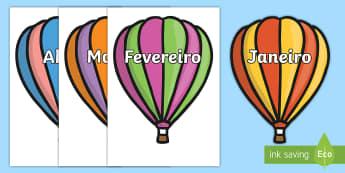 Meses do ano, balões de ar quente - dia,semana,mes,dias,semanas,meses,ano,anos,tempo,gestao,sala de aula, calendario, vocabulario