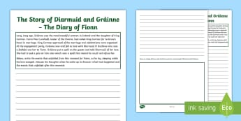 The Story of Diarmuid and Gráinne - The Diary of Fionn Activity Sheet - Irish Tales, Celtic, The Fianna, Fionn, Irish Stories,Irish, worksheet