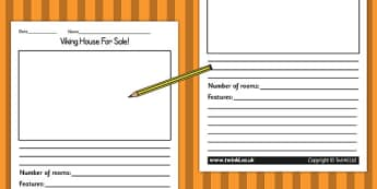 Viking House for Sale Writing Activity - writing templates, write