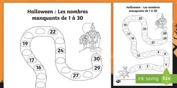 Feuille d'activité sur Halloween : Les nombres manquants jusqu'à 30 - Compter, mathématiques, chiffres, cycle 1, cycle 2,French