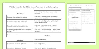 Curriculum 6th Class Maths Number Assessment Targets Colouring Sheet - roi, gaeilge, ireland, republic of ireland