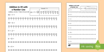 Addition to 20 with a Number Line Activity Sheet English/Mandarin Chinese - Addition to 20 with a Number Line Activity Sheet - number line, +, adition, numberline, additon, wor