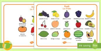 Fruit Word Mats English/Spanish - Fruit word mat, fruit words, word mat, Foundation stage, apple, orange, satsuma, pear, banana, tange