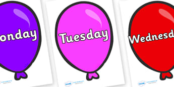 Days of the Week on Party Balloons - Days of the Week, Weeks poster, week, display, poster, frieze, Days, Day, Monday, Tuesday, Wednesday, Thursday, Friday, Saturday, Sunday