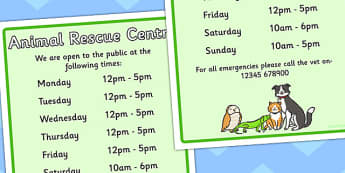 Animal Rescue Centre Role Play Opening Times - animals, props