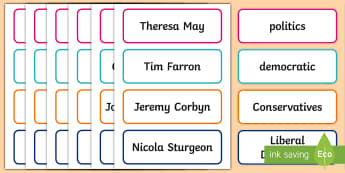 UK Elections 2017 Word Cards - general election, election, 2017 election, Theresa May, vote, democracy, Conservatives, Labour, Libe