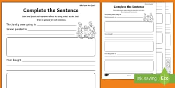 'Who's at the Zoo?' Read and Complete the Sentence Activity Sheets - exploring my world, aistear, story, zoo, literacy, oral language, reading, animals, tiger, elephant,