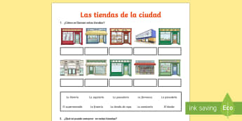 Shops in Town Activity Sheet Spanish - Spanish KS2, shops, town, shopping ,activity sheet, worksheet
