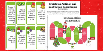 Year 1 Addition and Subtraction Christmas Themed Board Game - Christmas Wales, Christmas, Maths, Foundation Phase Profile, Addition, Subtraction, Word Problems, O