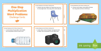 KS2 One Step Multiplication Word Problems Maths Challenge Cards - KS2, Maths, Solve problems, including missing number problems, involving multiplication and division