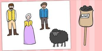 Baa Baa Black Sheep Stick Puppets - Baa Baa Black Sheep, nursery rhyme, stick puppet, rhyme, rhyming, nursery rhyme story, nursery rhymes, Baa Baa Black Sheep resources, master, dame