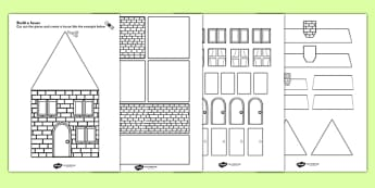 Houses and Homes Build a House Using Shapes Black and White Activity