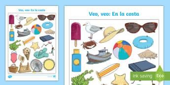 Seaside Themed I Spy with My Little Eye Activity  - Spanish, Vocabulary, KS2, summer, seaside, sea, coast, holidays, themed, I, Spy, With, my, little, e