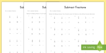 Subtract Fractions Activity Sheets  - Fractions, subtractions, worksheet, differentiated