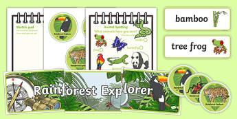 Rainforest Explorer Role Play Pack - rainforest, explorer, role play, pack, resources, snake, forest, ecosystem, rain, humid, parrot, monkey, gorilla