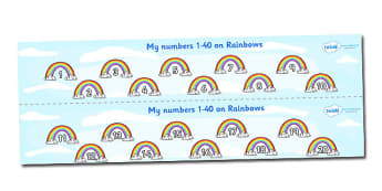 1-40 on Rainbows Number Strips - Maths, Math, number track, rainbow, Numberline, Number line, Counting on, Counting back, counting